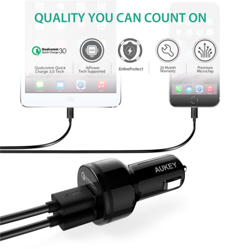 Aukey Dual Port QC 3.0 Car Charger for Samsung and iPhone